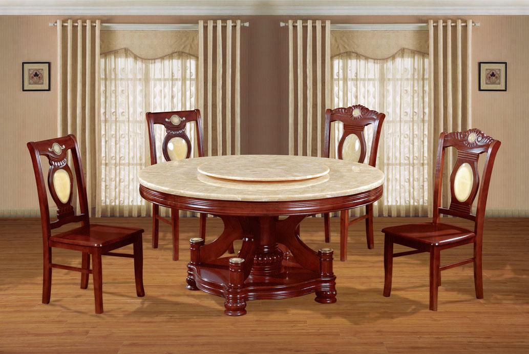 酒店大理石电动圆餐桌椅