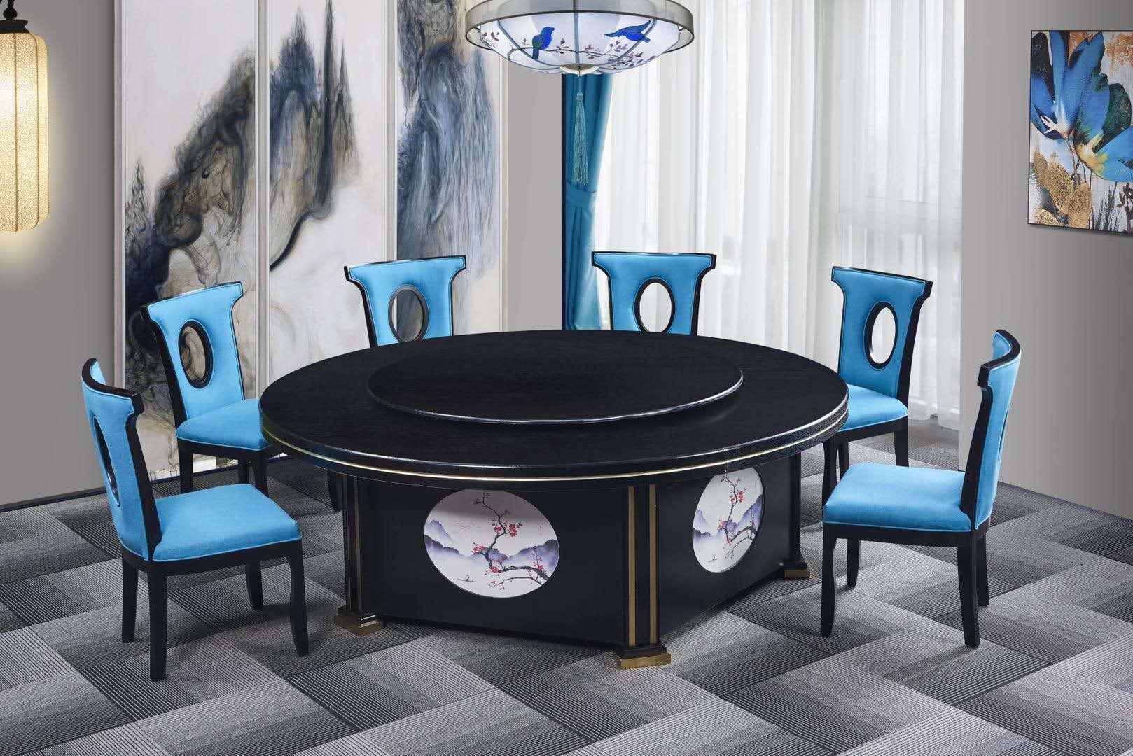 中今新中式雕花电动餐桌